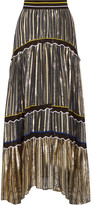 Peter Pilotto Silk Blend-trimmed Metallic Chiffon Maxi Skirt - Gold