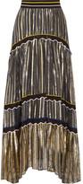 Peter Pilotto Silk Blend-trimmed Metallic Chiffon Maxi Skirt - small