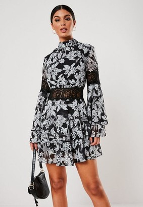Missguided Petite Black Floral Print High Neck Layered Frill Dress
