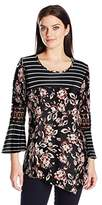 NY Collection Women's Prt 3/4 Bell Pullover with Crochet At Slv