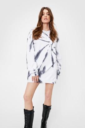 Nasty Gal Womens Tie Dye Washed Sweat Dress - White - 4