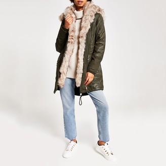 River Island Womens Khaki longline faux fur parka coat