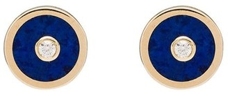 Retrouvai 14kt gold Compass lapis lazuli diamond earrings