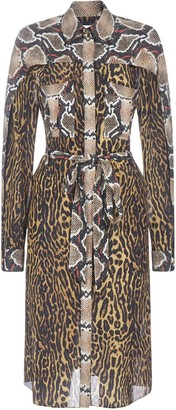 Burberry Animalier Print Chemisier Silk Dress