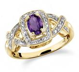 1/2 CT TW Amethyst Yellow Silver Halo Ring with Diamond Accents by JewelonFire