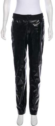Chanel Leather Mid-Rise Pants