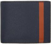 Valextra Navy and Orange Stripe 6cc Bifold Wallet