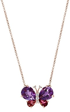 Bloomingdale's Multi-Gemstone & Diamond Butterfly Pendant Necklace in 14K Rose Gold, 18L - 100% Exclusive