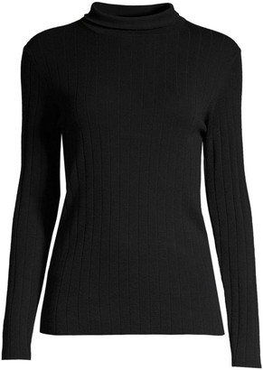Peserico Rib-Knit Merino Wool Mockneck Sweater