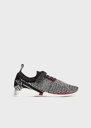 Giorgio Armani Lace-Up Fabric Sneakers With Leather Details