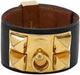 Hermes Black Leather Bracelet Collier de chien