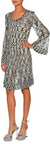 Missoni Scoop-Neck Bell-Sleeve Dress, Black/White