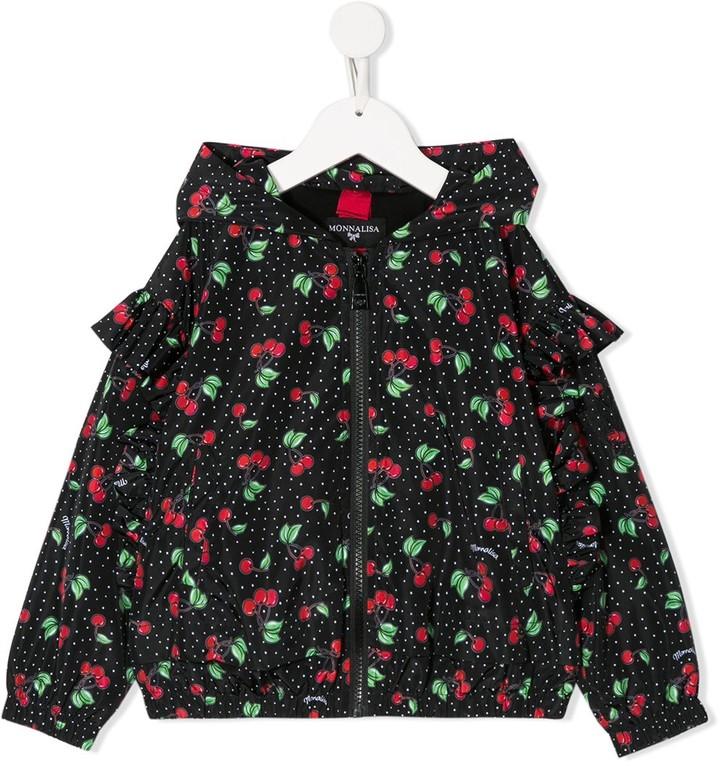 MonnaLisa Ruffled Sleeve Cherry Print Jacket