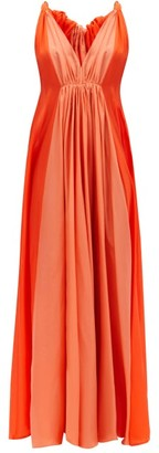 Kalita Inana Gathered Habotai-silk Maxi Dress - Orange Multi