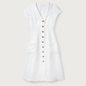 The White Company Linen Fit & Flare Button Through Dress, White, 14