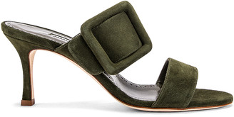 Manolo Blahnik Gable 70 Suede Sandal in Military Green | FWRD