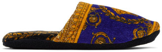 Versace Blue Baroque Slippers