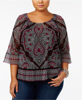 INC International Concepts Plus Size Printed Ruffle-Hem Top, Created for Macy's