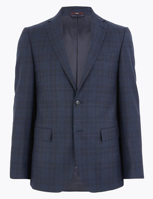 Marks and Spencer Blue Tailored Fit Wool Rich Checked Suit