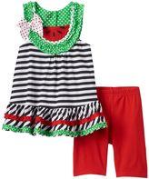 Nannette Baby Girl Watermelon Tunic & Solid Capri Leggings Set