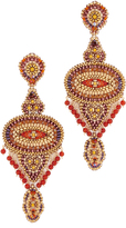 Miguel Ases Beaded Chandelier Earrings