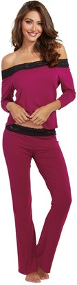 Dreamgirl Women's Cotton and Spandex Jersey 3/4 Sleep Shirt and Pant Set with Lace Trim