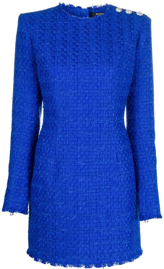 Balmain Tweed Button-Embellished Mini Dress