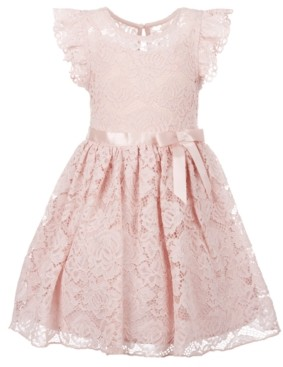 Pink & Violet Little Girls Ruffle Sleeve Lace Dress