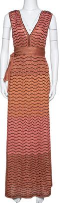 M Missoni Pink Ombre Lurex Wavy Knit Maxi Dress XS
