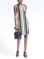 Banana Republic Stripe Knit Faux-Wrap Dress