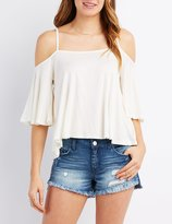 Charlotte Russe Strappy Cold Shoulder Swing Top