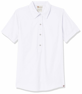Dickies Women's Short Sleeve Woven Popover Shirt with 3 Buttons