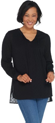 Denim & Co. Clip Dot Long-Sleeve Blouse with Knit Tank Top