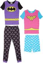 Komar Kids Girls 4 Piece Cotton Pajamas Sleepwear Set with Shorts and Pants