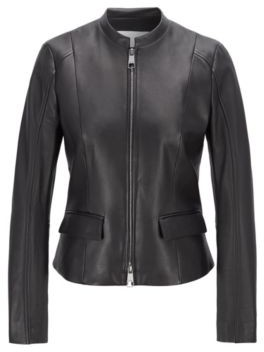 HUGO BOSS Leather jacket in lamb nappa with buckle detail