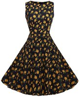 Lecimo Vintage 1950's Floral Summer Spring Garden Party Picnic Cocktail Dress (,Size XXL)