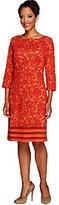 Liz Claiborne New York Petite 3/4 Sleeve Printed Knit Dress