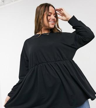 Yours peplum frill sweatshirt in black