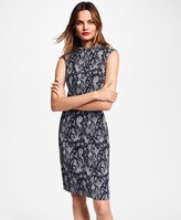 Brooks Brothers Floral Glen Plaid Jacquard Sheath Dress