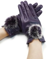 uxcell® Women Pom-Pom Balls Decor Soft Lining PU Winter Gloves Pair