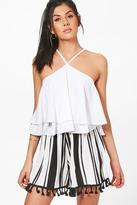boohoo Zena Striped Tassel Trim Flippy Shorts white
