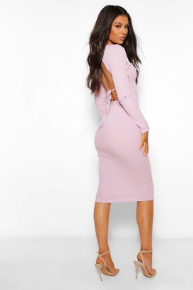 boohoo Rib Open Tie Back Midi Dress