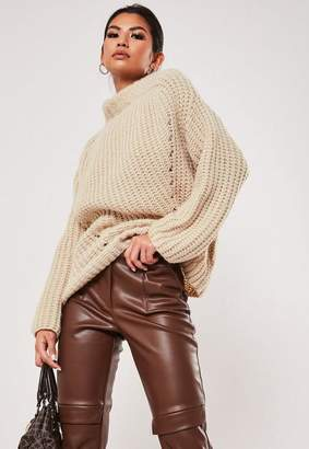 Missguided Stone Chunky Knit High Neck Sweater