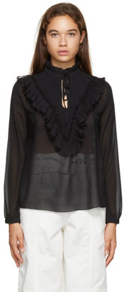 See by Chloe Black Georgette Frill Blouse
