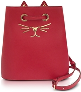 Charlotte Olympia Feline Red Leather Bucket Bag
