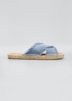 Castaner Palmera Fringed-Denim Slide Sandals