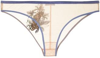 Fleur Du Mal Jaguar Embroidered bikini briefs