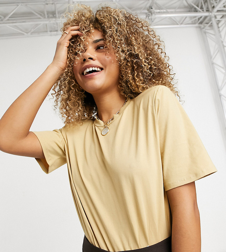 Collusion padded shoulder t-shirt bodysuit in sand