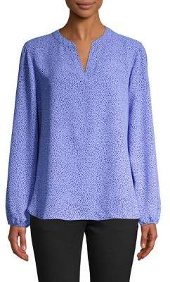 Anne Klein Dotted Split Neck Blouse