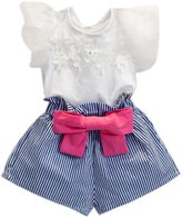 Bodysuits, Bokeley Girls Lace T-shirt+Stripe Shorts Set Clothes Suit